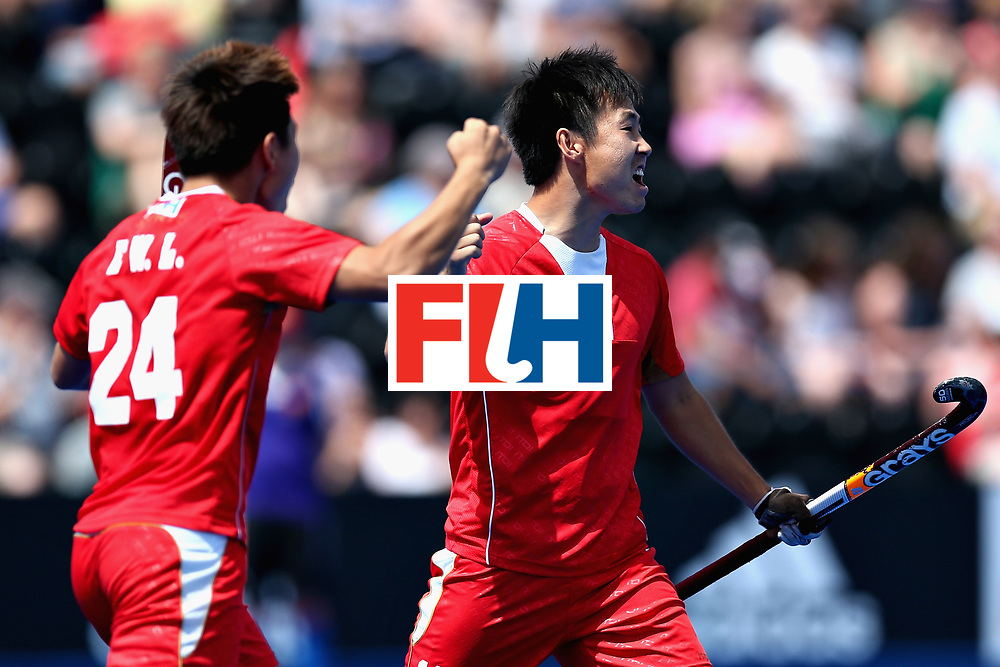 LONDON, ENGLAND - JUNE 17:  Jun Su of China celbrates scoring the second goal for China during the Hero Hockey World League Semi Final match between China and Korea at Lee Valley Hockey and Tennis Centre on June 17, 2017 in London, England.  (Photo by Alex Morton/Getty Images)