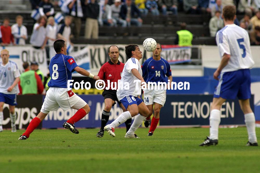 07.06.2003, Olympic Stadium, Helsinki, Finland..UEFA European Championship Qualifying match, Group 9, Finland v Serbia-Montenegro.Simo Valakari - Finland.©Juha Tamminen