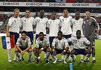 Fotball , 11. august 2010 , Privatkamp<br /> Norge - Frankrike 2-1<br /> Norway - France 2-1<br /> <br /> lagbilde , team picture<br /> <br /> Stephane Ruffier (16) , Rod Fanni (15), Adil Rami (4) , Philippe Mexes 5, Aly Cissokho 20, Moussa Sissoko 22, Yann Mvila 17, Charles Nzogbia 19, Samir Nasri 11, Loic Remy 7, Guillaume Hoarau 9, Frankrike