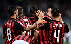 MILAN, May 7, 2019  AC Milan's Fabio Borini (2nd L) celebrates his goal with his teammates during a Serie A soccer match between AC Milan and Bologna in Milan, Italy, May 6, 2019. AC Milan won 2-1. (Credit Image: © Daniele Mascolo/Xinhua via ZUMA Wire)