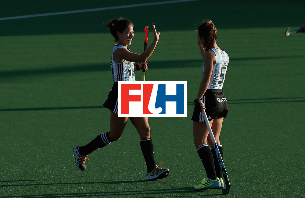 JOHANNESBURG, SOUTH AFRICA - JULY 14: Lucina von der Heyde of Argentina celebrates scoring their teams first goal with Agostina Alonso of Argentina  during day 4 of the FIH Hockey World League Semi Finals Pool B match between the United States and Argentina at Wits University on July 14, 2017 in Johannesburg, South Africa. (Photo by Jan Kruger/Getty Images for FIH)