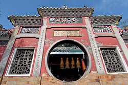 Exterior of ornate historic Ama Temple in Macau China