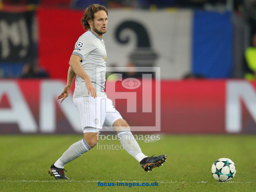 Daley Blind of Manchester United during the UEFA Champions League match at St. Jakob-Park, Basel<br /> Picture by Yannis Halas/Focus Images Ltd +353 8725 82019<br /> 21/11/2017