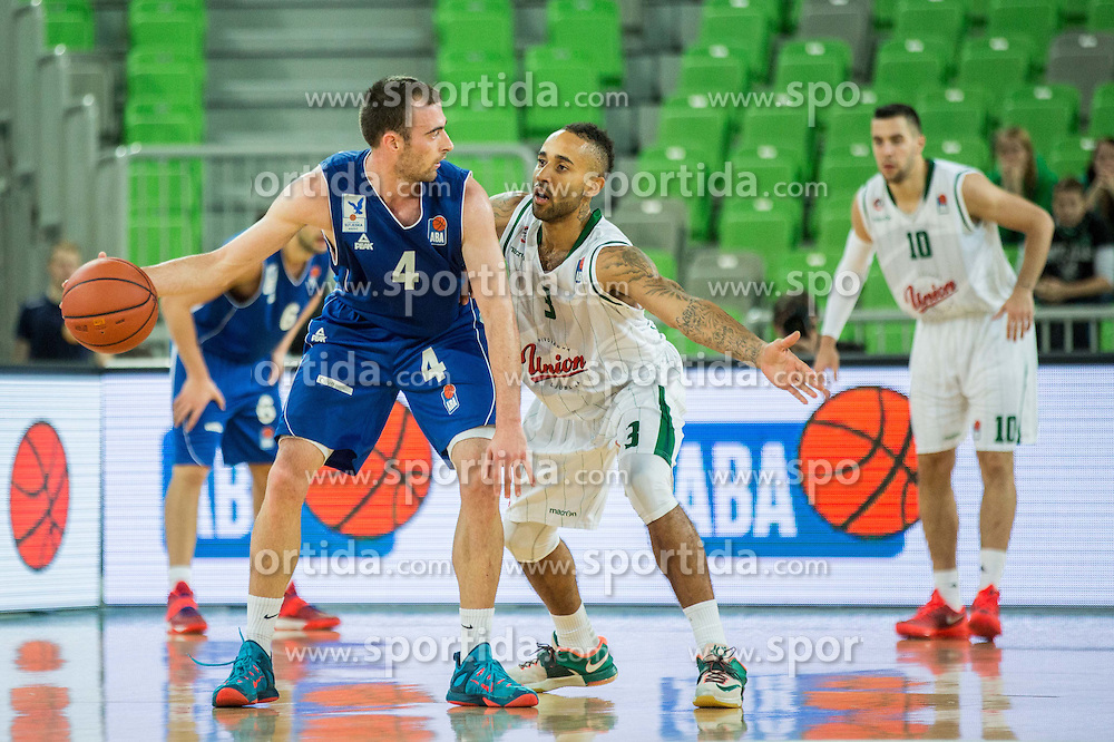 Nikola Pavlicevic of Sutjeska vs Zack Wright #3 of KK Union Olimpija during basketball match between KK Union Olimpija Ljubljana and KK Sutjeska Niksic in Round #3 of ABA League 2015/16, on October 7, 2015 in Arena Stozice, Ljubljana, Slovenia. Photo by Vid Ponikvar / Sportida