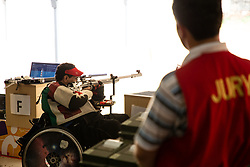 October 12, 2018 - Jakarta, Jakarta, Indonesia - Jakarta, Indonesia, 12 October 2018 : ABDULLA from United Emirat Arab when finishhed his last shoot that made him win gold medal. Para Asian Games shooting competition at Gelora Bung Karno sports center-Jakarta. (Credit Image: © Donal Husni/ZUMA Wire)