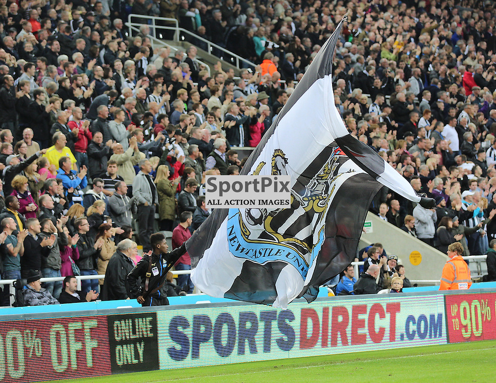 Newcastle United v Chelsea English Premiership 26 September 2015; Newcastle fans and flag during the Newcastle v Chelsea English Premiership match played at St. James' Park, Newcastle; <br /> <br /> &copy; Chris McCluskie | SportPix.org.uk