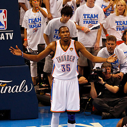 Jun 14, 2012; Oklahoma City, OK, USA;  Oklahoma City Thunder small forward Kevin Durant (35) reacts during the third quarter of game two in the 2012 NBA Finals against the Miami Heat at Chesapeake Energy Arena. Mandatory Credit: Derick E. Hingle-US PRESSWIRE