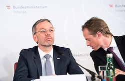 "25.02.2019, Innenministerium, Wien, AUT, Bundesregierung, Pressekonferenz zum Thema ""Aktuelles aus dem Bereich Asyl und Fremdenwesen, im Bild Innenminister Herbert Kickl (FPÖ) und Peter Webinger (Leiter Sektion V ""Fremdenwesen"") // during a media conference at the interior ministry due to asylum topic in Vienna, Austria on 2019/02/25, EXPA Pictures © 2019, PhotoCredit: EXPA/ Michael Gruber"