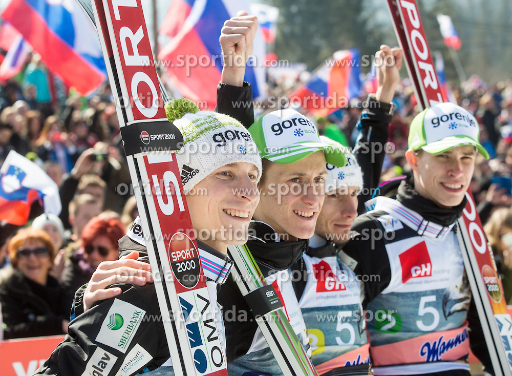 Jurij Tepes of Slovenia, Peter Prevc of Slovenia, Robert Kranjec of Slovenia and Anze Semenic of Slovenia celebrate after the Flying Hill Team Competition at Day 3 of FIS World Cup Ski Jumping Final, on March 21, 2015 in Planica, Slovenia. Photo by Vid Ponikvar / Sportida