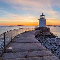 Bug Light lighthouse at sunrise. Bug Light Park, South Portland, Maine. Casco Bay.