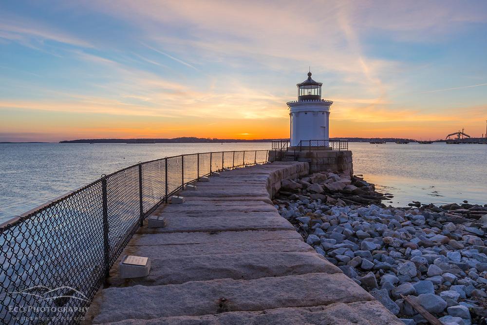 Bug Light lighthouse at sunrise. Bug Light Park, South Portland, Maine. Casco Bay.