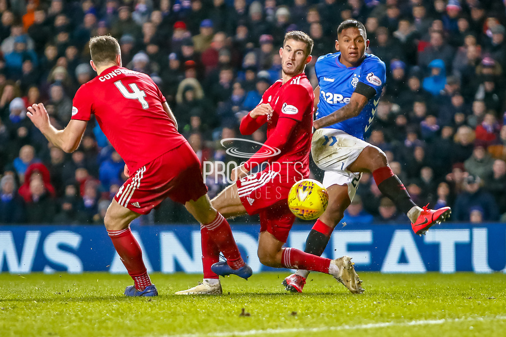 Alfredo Morelos watches as his shot goes wide during the William Hill Scottish Cup quarter final replay match between Rangers and Aberdeen at Ibrox, Glasgow, Scotland on 12 March 2019.