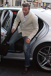 David Beckham arriving at the H&M store in London's Regent Street for the launch of his new Bodywear range, Wednesday 1st February 2012.Photo by: Stephen Lock / i-Images
