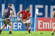 Canadian player Phil Mack passes the ball in the second half during the Rugby World Cup qualifier between Hong Kong and Canada at Stade Delort, Marseilles, France on 23 November 2018. Picture by Ian  Muir.