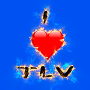 Digitally enhanced image of I love TLV (Tel Aviv, Israel) with a flaming heart shaped graphic on blue  background