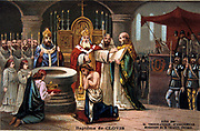 Clovis (c466-511) first King of the Franks. Clovis baptised at Rheims by Saint Remigius at Christmas 496, 498, or 506. Nineteenth century Trade Card Chromolithograph