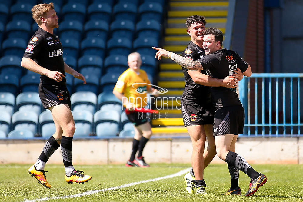 Bradford Bulls centre James Bentley (20) celebrates for the Bradford Bulls after his first try during the Kingstone Press Championship match between Rochdale Hornets and Bradford Bulls at Spotland, Rochdale, England on 18 June 2017. Photo by Simon Davies.