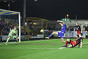 AFC Wimbledon defender Paul Robinson (6) shoots at goal during the EFL Sky Bet League 1 match between AFC Wimbledon and Coventry City at the Cherry Red Records Stadium, Kingston, England on 14 February 2017. Photo by Stuart Butcher.