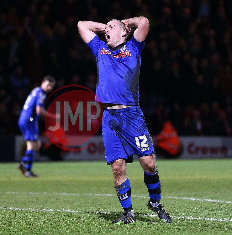 Rochdale's Stephen Dawson shows his frustration having been fouled - Photo mandatory by-line: Matt McNulty/JMP - Mobile: 07966 386802 - 26/01/2015 - SPORT - Football - Rochdale - Spotland Stadium - Rochdale v Stoke City - FA Cup Fourth Round