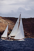 Veritas sailing in the Windward Race at the Antigua Classic Yacht Regatta.