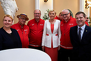 Warsaw, Poland - 2017 March 31: (C) First Lady Agata Kornhauser-Duda poses to the picture with (R) Krzysztof Krukowski and (L) Malgorzata Strzalkowska and (2L) Jerzy Janowicz while meeting with Special Olympics Athletes at Polish President's Palace on March 31, 2017 in Warsaw, Poland.<br /> <br /> Mandatory credit:<br /> Photo by © Adam Nurkiewicz / Mediasport<br /> <br /> Adam Nurkiewicz declares that he has no rights to the image of people at the photographs of his authorship.<br /> <br /> Picture also available in RAW (NEF) or TIFF format on special request.<br /> <br /> Any editorial, commercial or promotional use requires written permission from the author of image.<br /> <br /> Image can be used in the press when the method of use and the signature does not hurt people on the picture.