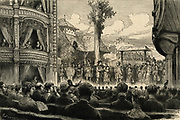 Stage of Royal Comedy Theatre, London, lit by limelight footlights (Drummond/oxyhydrogen light), 1881.