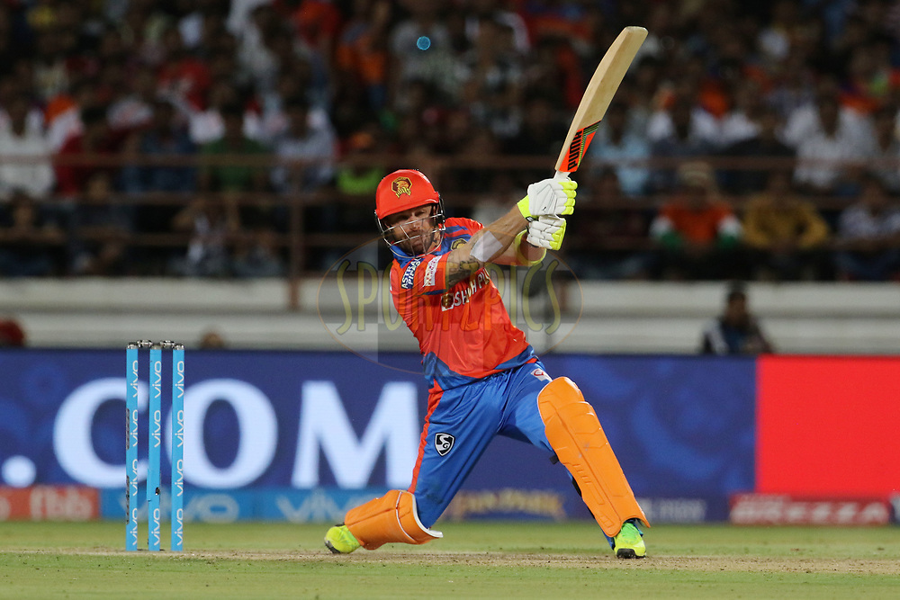 Brendon McCullum of the Gujarat Lions plays a shot during match 20 of the Vivo 2017 Indian Premier League between the Gujarat Lions and the Royal Challengers Bangalore  held at the Saurashtra Cricket Association Stadium in Rajkot, India on the 18th April 2017<br /> <br /> Photo by Vipin Pawar - Sportzpics - IPL