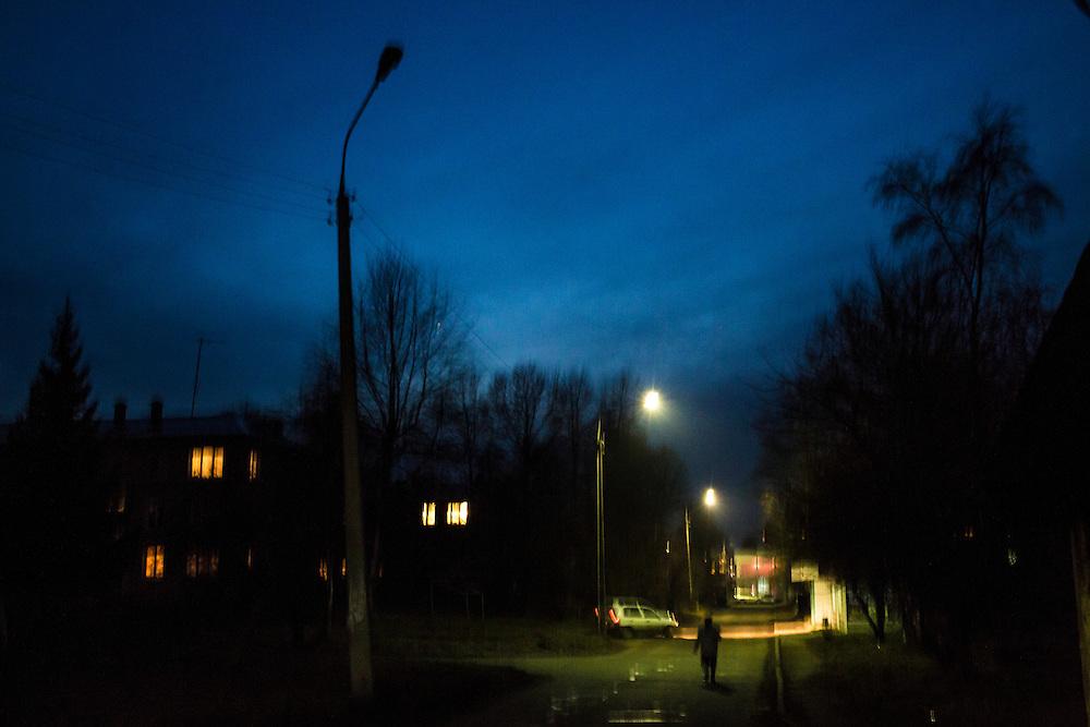 The Gagarina neighborhood at dusk on Friday, October 25, 2013 in Baikalsk, Russia.