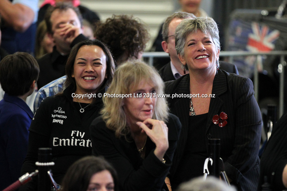 Auckland Councillor Penny Hulse joins fans at Shed 10, Auckland watching the America's Cup racing between Team New Zealand and Oracle in San Francisco. September 23, 2013. Photo: Fiona Goodall/photosport.co.nz