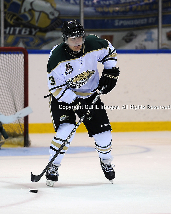 WHITBY, ON - Sep 20 : Ontario Junior Hockey League Game Action between the Whitby Fury and the Cobourg Cougars, TJ Melancon #3 of the Cobourg Cougars Hockey Club skates with the puck during first period game action.<br /> (Photo by Andy Corneau / OJHL Images)