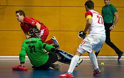 LEIZPIG - WC HOCKEY INDOOR 2015<br /> SUI v POL (7th / 8th Place)<br /> DOMACHOWSKI Lukasz (GK) saved a shot on goal<br /> FFU PRESS AGENCY COPYRIGHT FRANK UIJLENBROEK