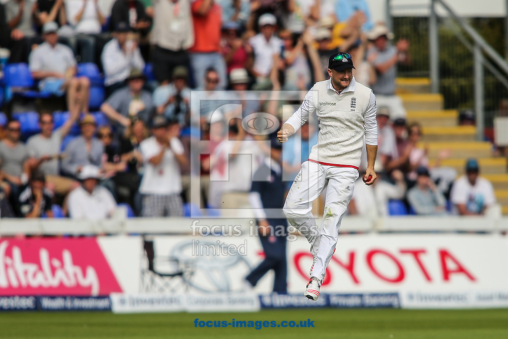 Adam Lyth of England celebrates taking a catch to dismiss Mitchell Johnson of Australia (not shown) during the Investec Ashes Series Test Match at Sophia Gardens, Cardiff<br /> Picture by Andy Kearns/Focus Images Ltd 0781 864 4264<br /> 11/07/2015