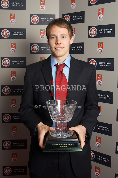 CARDIFF, WALES - Tuesday, October 7, 2008: Wales' FAW Young Player of the Year Chris Gunter with his award at the Brains Beer Wales Football Awards at the Millennium Stadium. (Photo by David Rawcliffe/Propaganda)