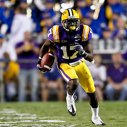 October 16, 2010; Baton Rouge, LA, USA; LSU Tigers cornerback Morris Claiborne (17) runs back and intercepted pass against the McNeese State Cowboys during a game at Tiger Stadium. LSU defeated McNeese State 32-10. Mandatory Credit: Derick E. Hingle