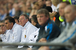 WIGAN, ENGLAND - Sunday, May 11, 2008: Manchester United's manager Alex Ferguson during the final Premiership match against Wigan Athletic of the season at the JJB Stadium. (Photo by David Rawcliffe/Propaganda)
