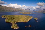The Loch Maree Islands National Nature Reserve in the west of Scotland with Slioch in the background.
