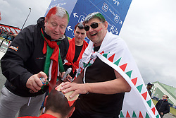 BORDEAUX, FRANCE - Monday, June 14, 2016: Hungary supporters paint the head of another supporter ahead of the UEFA Euro 2016 Championship match against Austria at Stade de Bordeaux. (Pic by Paul Greenwood/Propaganda)