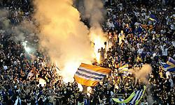 03.06.2010, Commerzbank-Arena, Frankfurt, GER, FIFA Worldcup Vorbereitung, Deutschland vs Bosnien-Herzegowina???, im Bild Bengalische Feuer im Gaesteblock, Foto: nph /  Roth / SPORTIDA PHOTO AGENCY