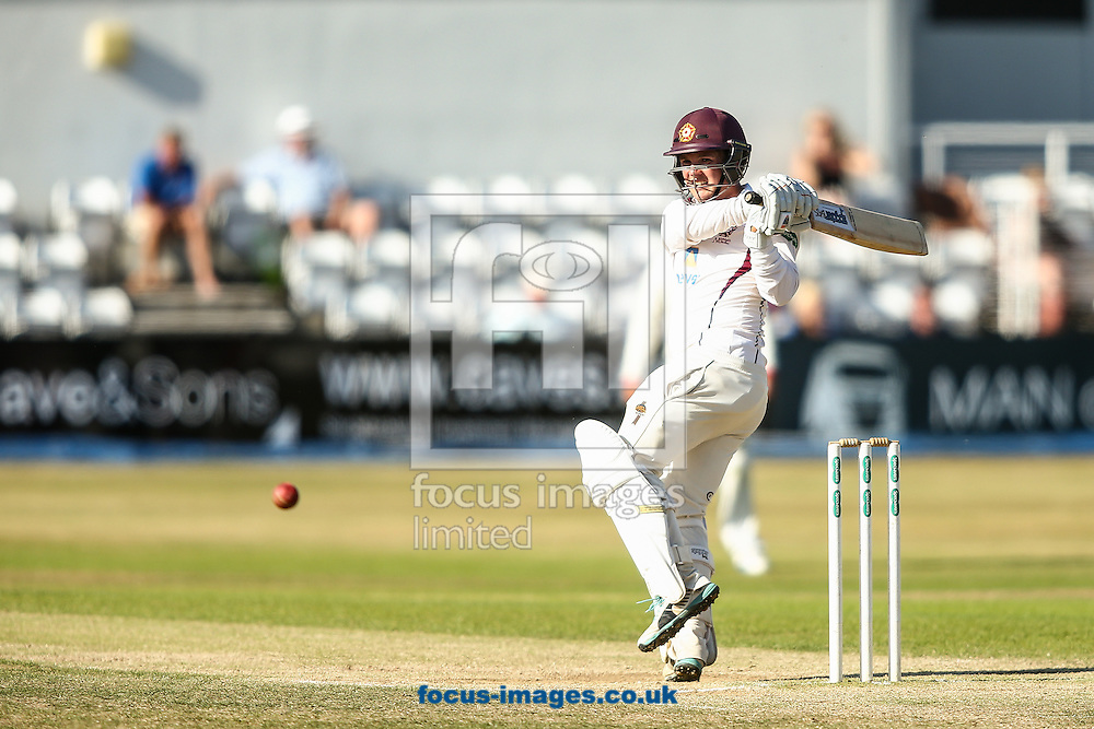 Rob Newton of Northamptonshire CCC plays the ball down to fine leg to reach his double century during the Specsavers County C'ship Div Two match at the County Ground, Northampton<br /> Picture by Andy Kearns/Focus Images Ltd 0781 864 4264<br /> 15/08/2016