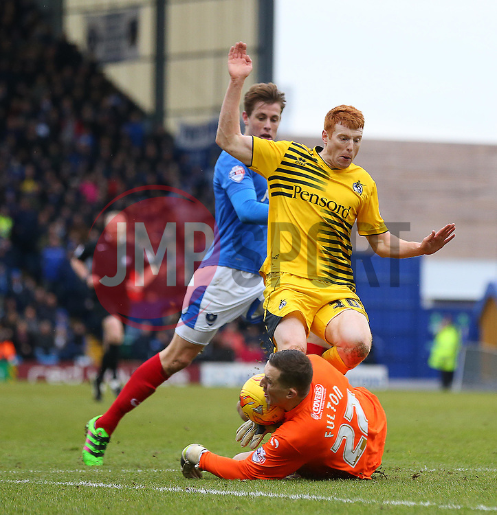 Ryan Fulton of Portsmouth challenges Rory Gaffney of Bristol Rovers - Mandatory byline: Paul Terry/JMP - 13/02/2016 - FOOTBALL - Fratton Park - Portsmouth, England - Portsmouth v Bristol Rovers - Sky Bet League Two