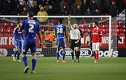 Cardiff City midfielder, Sammy Ameobi (38) getting sent off for 2 yellow cards during the Sky Bet Championship match between Charlton Athletic and Cardiff City at The Valley, London, England on 13 February 2016. Photo by Matthew Redman.