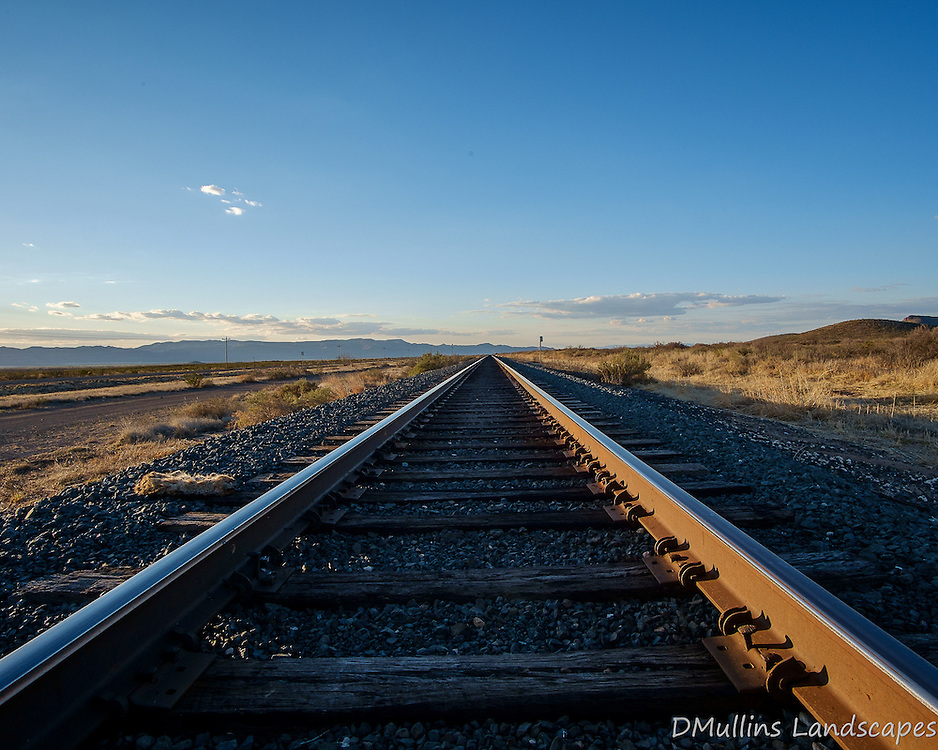Train Tracks outside of Marfa Texas.<br /> <br /> Available Sizes: 8x10, 12x15, 16x20