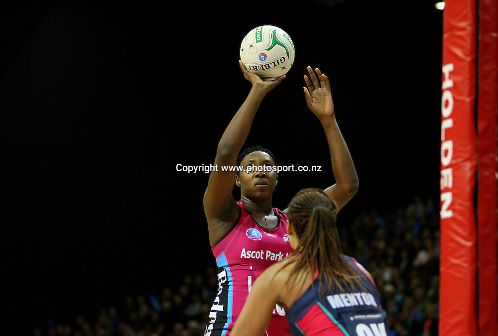 Steels Jhaniele Fowler-Reid takes a shot at goal while defended by Vixens Geva Mentor in the ANZ championship netball match, Steel v Vixens, ILT Stadium Southland, Invercargill, New Zealand, Saturday, May 31, 2014. Photo: Dianne Manson / www.photosport.co.nz