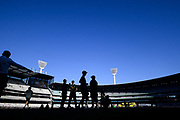 14th January 2019, Melbourne Cricket Ground, Melbourne, Australia; Australian Big Bash Cricket, Melbourne Stars versus Hobart Hurricanes; Melbourne Stars players prepare for the game