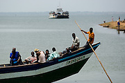 Passengers on a small ferry at the terminal in Makango, northern Ghana on Thursday March 26, 2009.