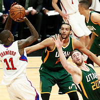 25 April 2017: LA Clippers guard Jamal Crawford (11) takes a jump shot over Utah Jazz forward Gordon Hayward (20)  during the Utah Jazz 96-92 victory over the Los Angeles Clippers, during game 5 of the first round of the Western Conference playoffs, at the Staples Center, Los Angeles, California, USA.