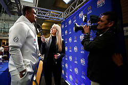 Jalen Hurts #1 of the Oklahoma Sooners speaks with the media at Media Day on Thursday, Dec. 26, in Atlanta. LSU will face Oklahoma in the 2019 College Football Playoff Semifinal at the Chick-fil-A Peach Bowl. (Jason Parkhurst via Abell Images for the Chick-fil-A Peach Bowl)