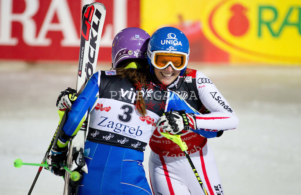 03.01.2012, Crveni Spust, Sljeme, CRO, FIS Weltcup Ski Alpin, Zagreb, Damen Slalom 2. Durchgang, im Bild Second placed MAZE Tina (SLO) and winner SCHILD Marlies (AUT) celebrate // after Slalom race 2nd run of FIS Ski Alpine World Cup at 'Crveni Spust' course in Sljeme, Zagreb, Croatia on 2012/01/03. EXPA Pictures © 2012, PhotoCredit: EXPA/ Sportida/ Vid Ponikvar..***** ATTENTION - OUT OF SLO *****