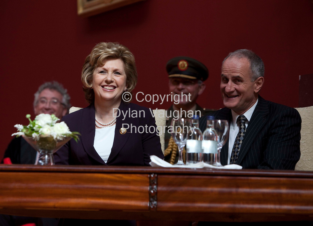 1595/2009.The President Mary McAlesse pictured receiving the freedom of the city in Kilkenny yesterday. Also in the picture is Dr Martin McAlesse..Picture Dylan Vaughan.
