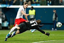 November 4, 2019, Saint Petersburg, USA: SAINT PETERSBURG, RUSSIA - NOVEMBER 05: midfielder Marcel Sabitzer of RB Leipzig and goalkeeper Mikhail Kerzhakov of FC Zenit in action during UEFA Champions League match FC Leipzig at FC Zenit on November 05, 2019, at Saint Petersburg Stadium in Saint Petersburg, Russia. (Photo by Anatoliy Medved/Icon Sportswire) (Credit Image: © Anatoliy Medved/Icon SMI via ZUMA Press)